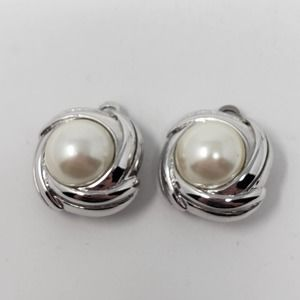 Marvella Silver Tone Faux Pearl Clip On Earrings